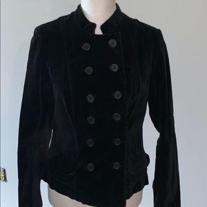 Military inspired velvet pea coat